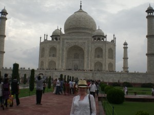 I still can't believe I am here!  The Taj Mahal has taken on a lot of gray amidst monsoon season.  Very majestic!