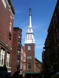 "The Old North Church, circa 1723. ""One if by land, two if by sea."""